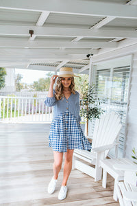 JOLIE DRESS - NAVY GINGHAM