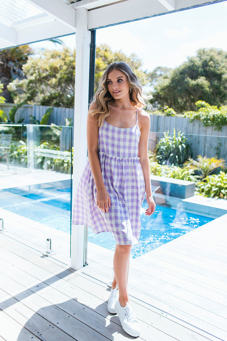 DARCEY DRESS - LILAC GINGHAM