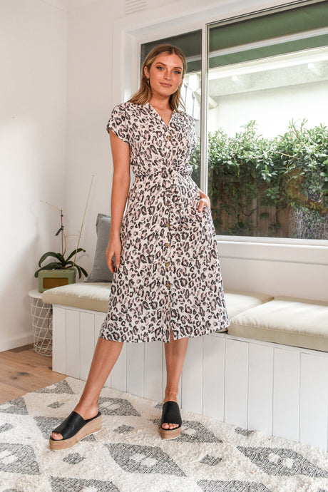 TALULAH DRESS - PINK LEOPARD PRINT