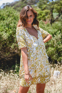 STEVIE DRESS - YELLOW/WHITE