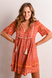 STEVIE DRESS - RED BOHO