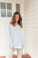 Load image into Gallery viewer, HARPER LONGSLEEVE - WHITE/INDIGO STRIPE