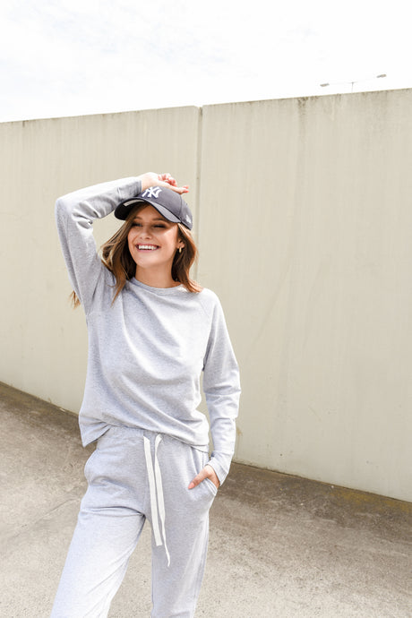 KIN FLEECE TOP - GREY MARLE