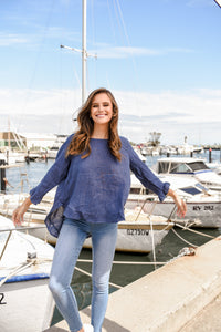 ELK LONG SLEEVE TOP - NAVY