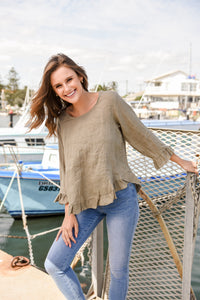 ELK LONG SLEEVE TOP - KHAKI
