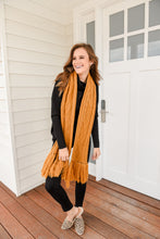 Load image into Gallery viewer, LUNAR CABLE KNIT SCARF - MUSTARD