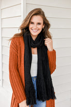 Load image into Gallery viewer, LUNAR CABLE KNIT SCARF - BLACK