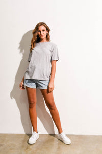LOGO COTTON CREW TEE - GREY MARLE