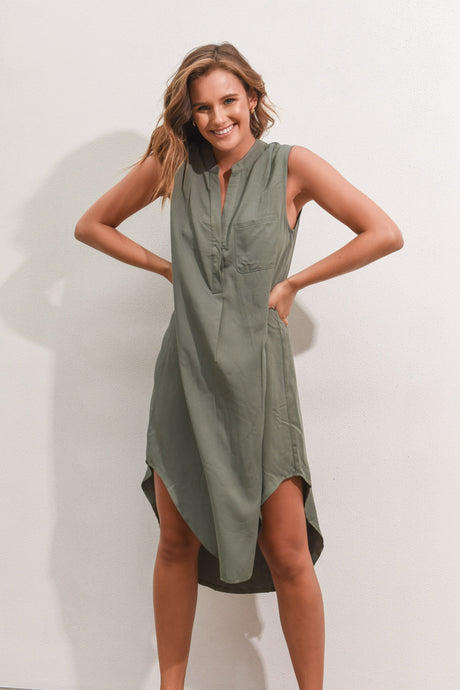 THESSY DRESS - KHAKI