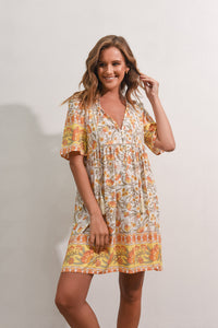 STEVIE DRESS - YELLOW FLORAL