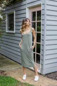 JIMBARYN TANK DRESS - KHAKI
