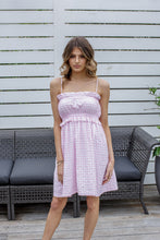 Load image into Gallery viewer, LYDIA MINI DRESS - PINK GINGHAM
