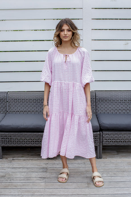 RYLEE DRESS - PINK GINGHAM