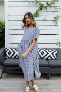 CROSS DRESS - NAVY GINGHAM