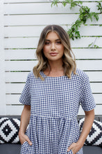 Load image into Gallery viewer, CROSS DRESS - NAVY GINGHAM