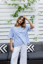 Load image into Gallery viewer, ANIKA TOP - BLUE GINGHAM