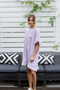 ELKY DRESS - LILAC GINGHAM