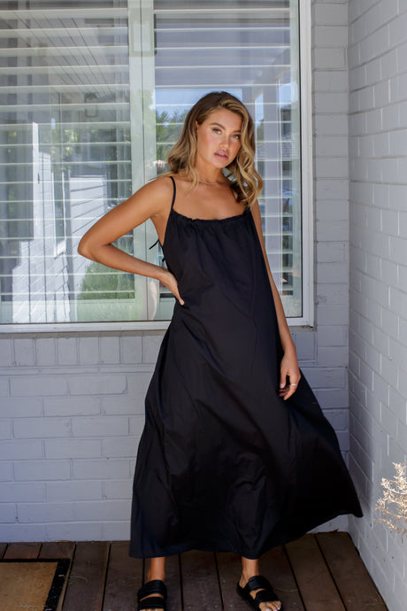 VOILE MAXI DRESS - BLACK