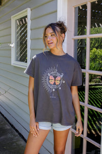 VINTAGE BUTTERFLY TEE - CHARCOAL