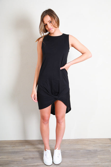 TWISTED TANK DRESS - BLACK