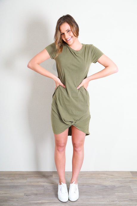 TWISTED TEE DRESS - KHAKI