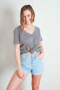 V NECK TIE CROP TEE - CHARCOAL