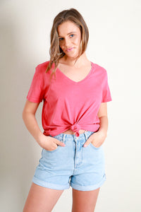 V NECK TIE CROP TEE - RED