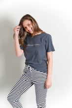 Load image into Gallery viewer, LOGO COTTON CREW TEE - CHARCOAL/WHITE
