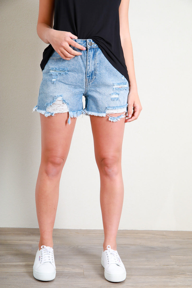 QUINN DENIM SHORT - SKY