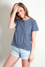 Load image into Gallery viewer, KNOT FRONT CROP TEE - NAVY