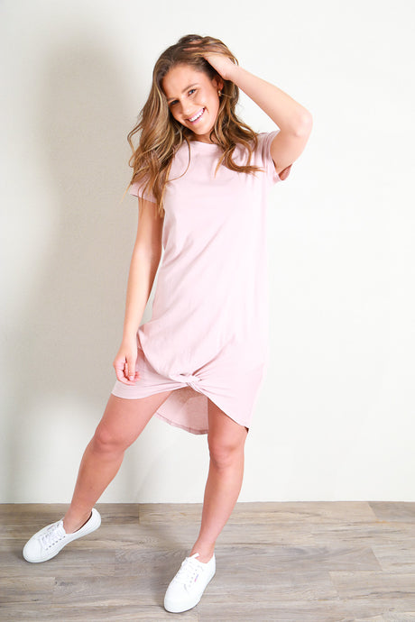 TWISTED TEE DRESS - PINK