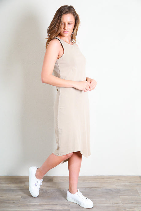 ONE IN EIGHT MIDI DRESS - TAN
