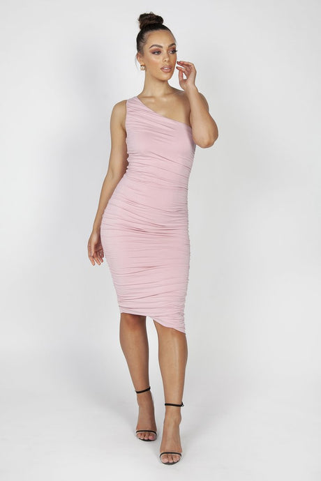 MILA RUCHED MIDI DRESS - PINK