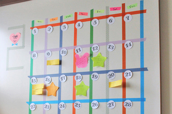 5 Washi Tape Wall Calendars for Getting Organised