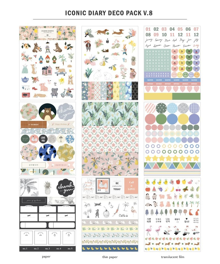 iconic diary deco sticker pack v8