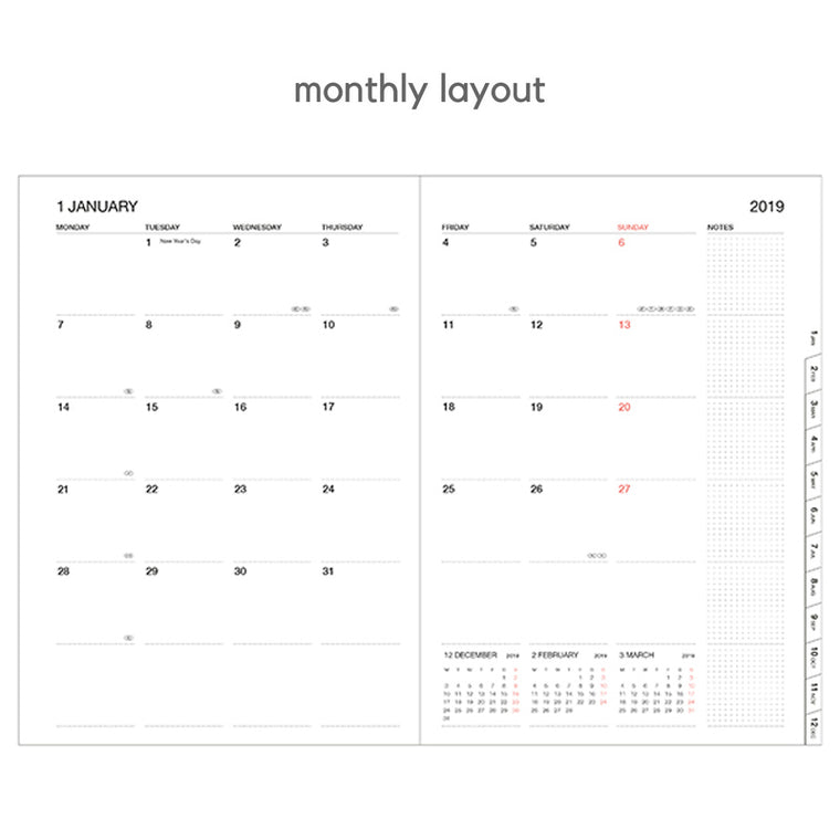 mark's diary monthly layout