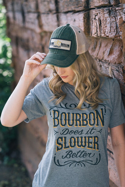 Bourbon Does it Slower: Vintage Unisex T-Shirt - Bourbon Outfitter