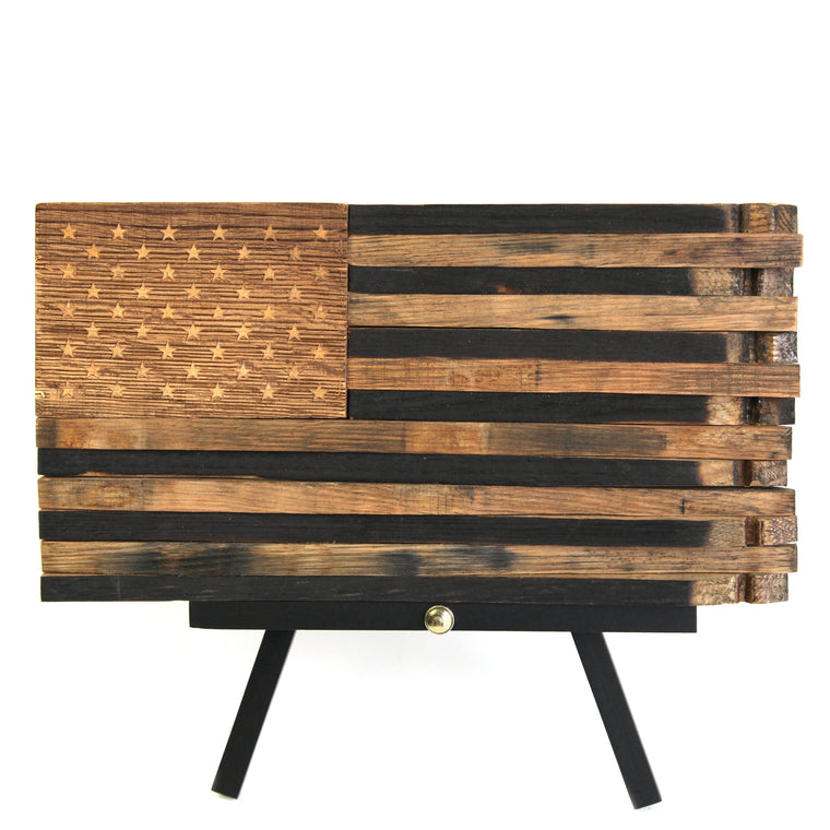 Veteran Handcrafted Kentucky Bourbon Barrel Flag
