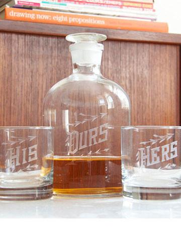 "Wedding Decanter Set - ""Ours"" - Bourbon Outfitters"