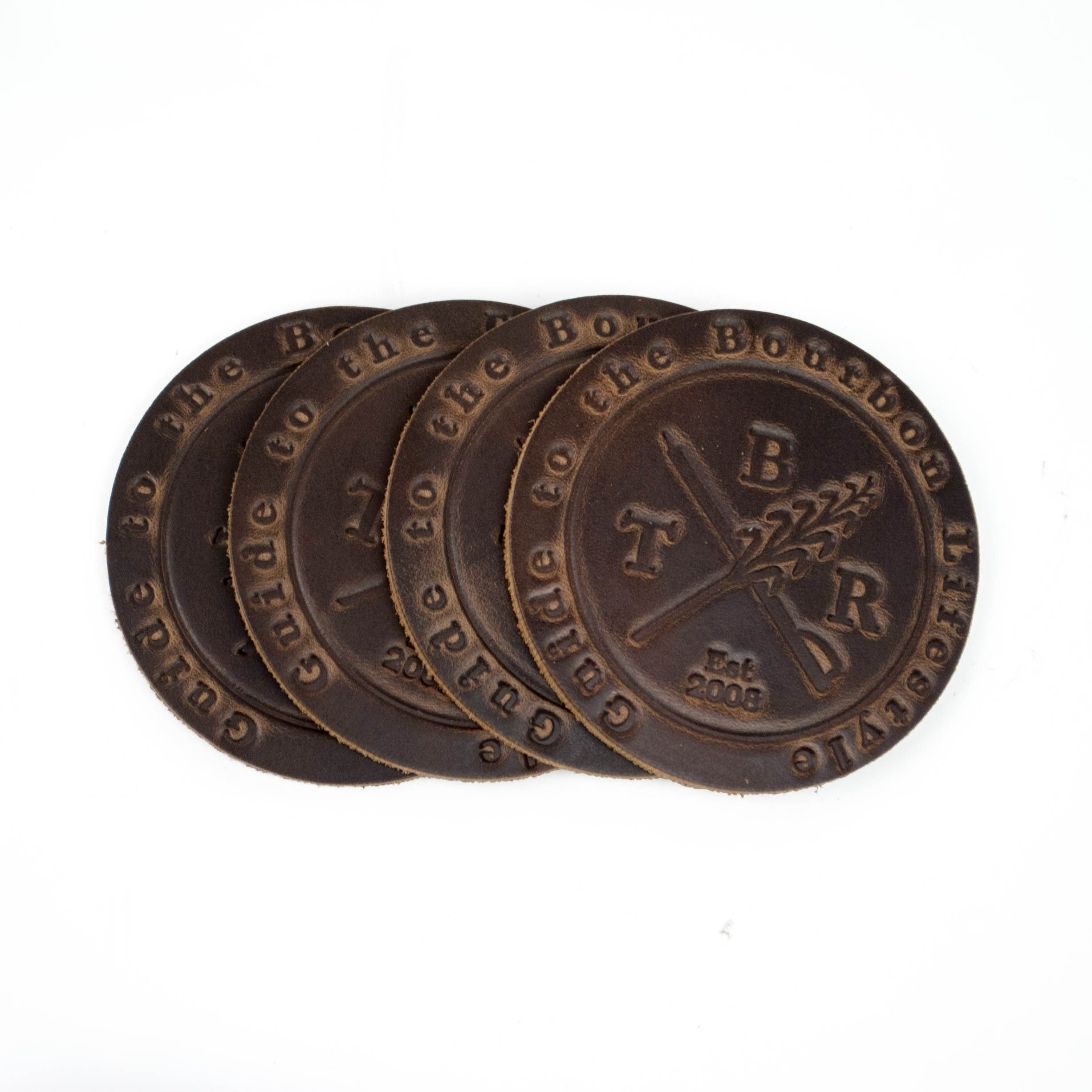 Bourbon Lifestyle Leather Coasters (set of 4) - Bourbon Outfitter