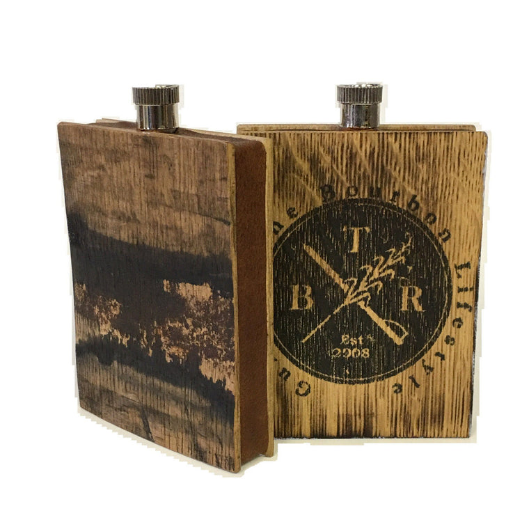 Bourbon Barrel Wood & Buffalo Hide Flask