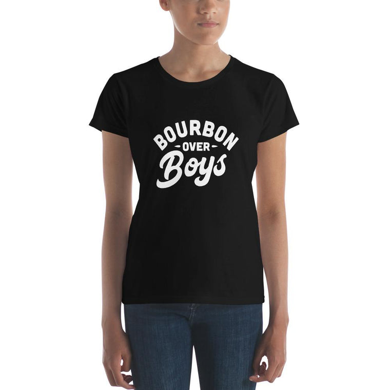 Bourbon Over Boys (White Lettering) - Women's short sleeve t-shirt
