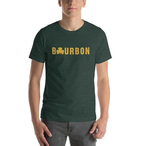 St. Paddys Day Bourbon - Yellow Lettering - Short-Sleeve Unisex T-Shirt - Bourbon Outfitter