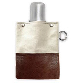 Brown Leather & Canvas Flask 4oz - Bourbon Outfitter