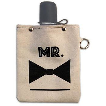 """Mr."" Canvas Flask - Wedding Gift 8oz - Bourbon Outfitter"