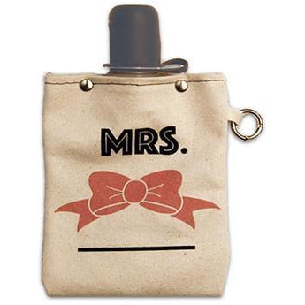 """Mrs."" Canvas Flask - Wedding Gift 8oz - Bourbon Outfitters"