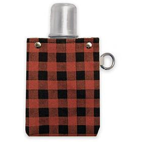 Red Plaid Canvas Flask 4oz. - Bourbon Outfitters