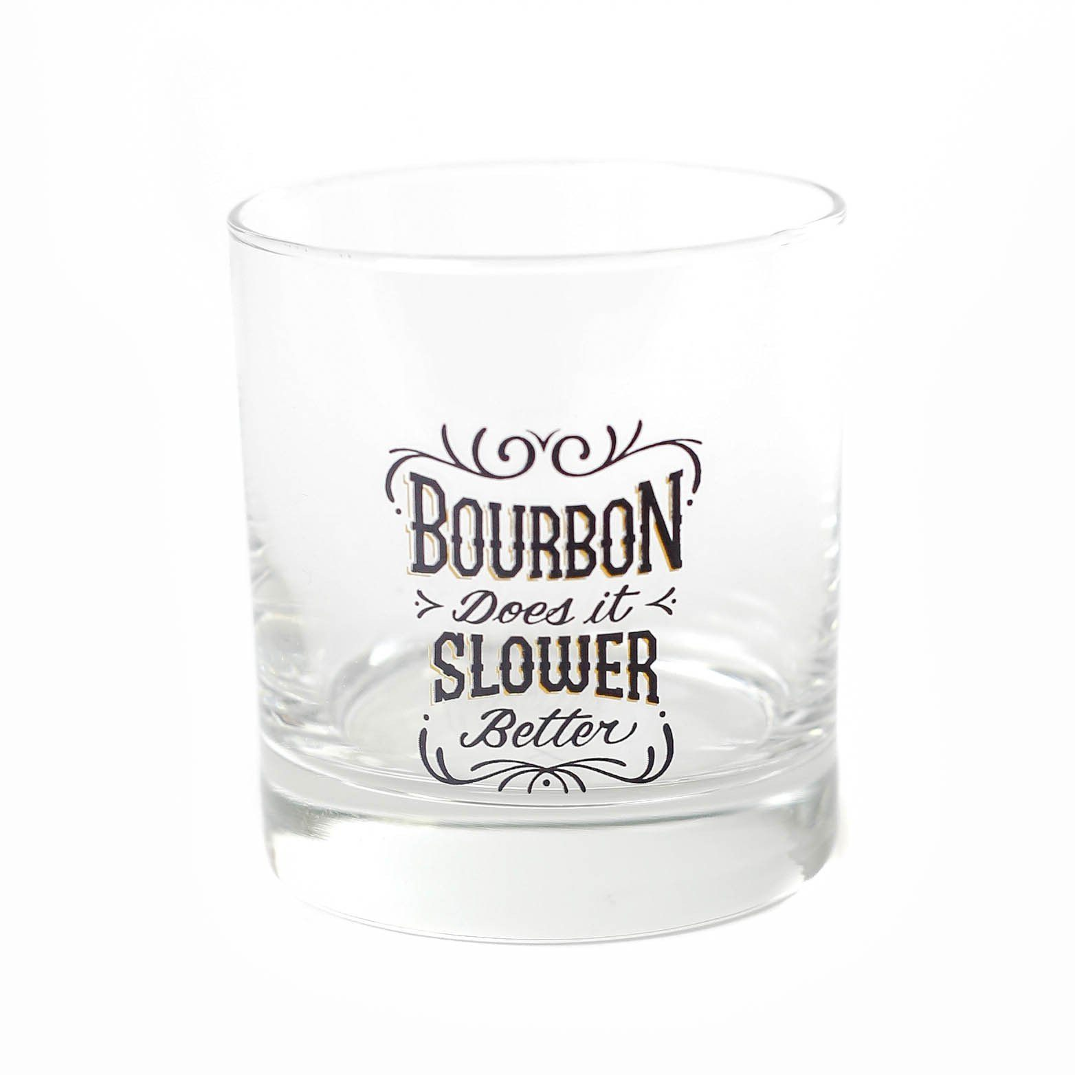 X_Bourbon Does It Slower, Better: Rocks Glass, 9 oz. - Bourbon Outfitter