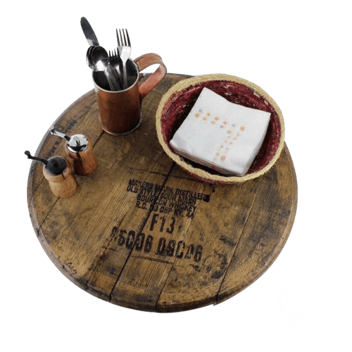 Reclaimed Barrel Top Wooden Lazy Susan - Bourbon Outfitter