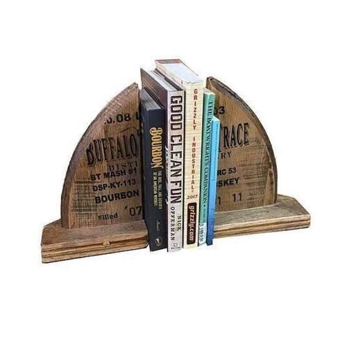 Reclaimed Bourbon Barrel Handcrafted Book Ends
